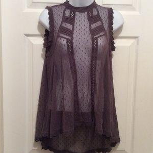 Free People Top XS Gray Purple Sheer Lace